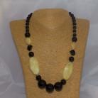 Halskette Onyx, gelbe Jade, 52 cm