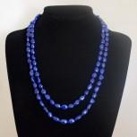 Halskette Süßwasserperlen, königsblau, 110 cm