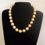 Halskette Muschelkernperlen, Muschelkern-Perlenkette, golden, 50 cm
