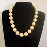 Halskette, Tridacna-Perlenkette, goldgelb, 53 cm