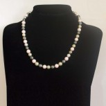Halskette Muschelkernperlen, Muschelkern-Perlenkette, mehrfarbig, 48 cm
