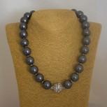 Halskette Muschelkernperlen, Muschelkern-Perlenkette, schwarz, 49 cm
