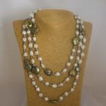 Halskette Süßwasserperlen, Endloskette, weiß, oliv, 160 cm