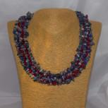 Halskette, Collier Lapilazuli, Sodalith, Korallen, 925 Silber, 46 cm