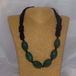 Halskette Onyx, grün, geeignet für Allergiker, 50 cm