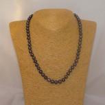 Halskette Süßwasserperlen, 925 Silber, dunkelviolett, 46 cm