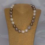 Halskette Muschelkern, Muschelkern-Perlenkette, 45,5 cm