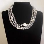 Halskette Süßwasserperlen, Endloskette, weiß, silber, 154 cm