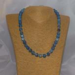 Halskette Feuerachat, blau, 925 Silber, 46 cm