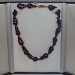 Halskette, imposante Barockperlen, 925 Silber, vergoldet, 45 cm