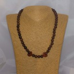 Halskette Mahagoniobsidian, roter Jaspis, 925 Silber, 46 cm