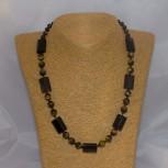 Halskette Tigerauge, Rauchquarz, 52 cm