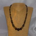 Halskette Tigerauge, blau, rot, braun, 48 cm