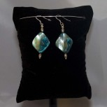 Ohrhänger Perlmutt, blau, 925 Silber