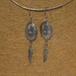 Ohrhänger Scheibe, Feder, 925 Silber