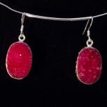 Ohrhänger Achatdrusen, rot, 925 Silber