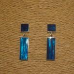 Ohrstecker Paua Muschel, blau, 925 Silber