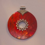 Anhänger Perlmutt, Perlmuttanhänger, rot, 925 Silber