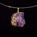 Kettenanhänger, Anhänger Achat Druse, violett, vergoldet