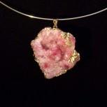 Kettenanhänger, Anhänger Achat Druse, pink, vergoldet