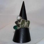 Ring Peridot, Onyx, Labradorite, Perle, 925 Silber