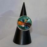 Ring Dichroitisches Glas, Farbeffektglas 925 Silber, Größe 57