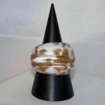 Ring Glas, Glasring, weiß, golden, verschiedene Größen 56,8