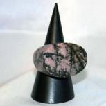 Ring Rhodonit, Rhodonitring, Steinring, oval, Größe 61